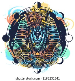 Anubis and moon phase tattoo and t-shirt design watercolor splashes style. Ancient Egypt Anubis, god of war, Golden Mask of the Pharaoh, symbol of next world, kingdom of dead