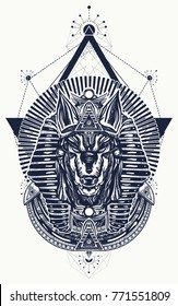 Anubis sacred geometry tattoo and t-shirt design. God of war, Golden Mask of the Pharaoh, symbol of next world, kingdom of dead