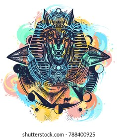 Anubis watercolor splashes color tattoo and t-shirt design. God of war, Golden Mask of the Pharaoh, Egypt art. Paleocontact concept