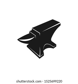 anvil blacksmith crafting vector logo design template on white