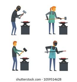 Anvil blacksmith forge icons set. Flat illustration of 4 anvil blacksmith forge vector icons for web
