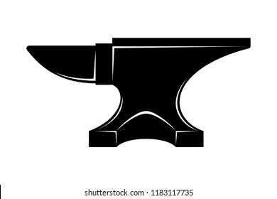 Anvil for blacksmith graphic icon. Anvil from smithy sign isolated on white background. Heavy industry symbol. Vector illustration