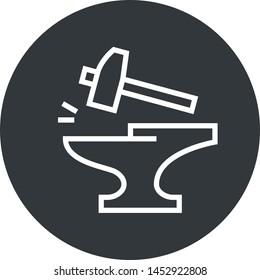 Anvil Forge Hammer Outline Icon