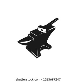 anvil and hammer blacksmith crafting vector logo design template on white