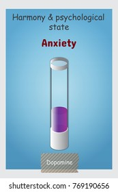Anxiety bulb chemistry Illustration Realistic Lab Equipment Chemical Container Tubes with Colorful Substances on Grey Background for Info graphic