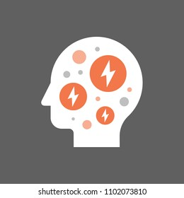 Anxiety concept, mental health, fear and panic attack, mood disorder, headache, vector flat illustration