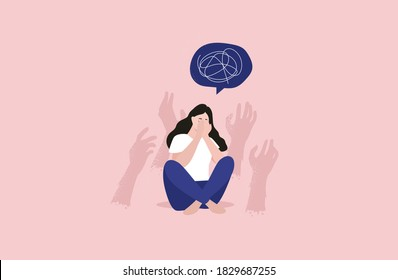 Anxiety disorder. Mental disorder. Fears. Vector