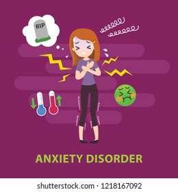 Anxiety Disorder Mental Illness Signs and Symptoms Infographic Vector Illustration