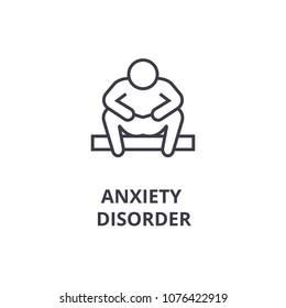 anxiety disorder thin line icon, sign, symbol, illustation, linear concept, vector