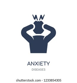 Anxiety icon. Anxiety filled symbol design from Diseases collection. Simple element vector illustration on white background