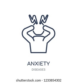 Anxiety icon. Anxiety linear symbol design from Diseases collection. Simple outline element vector illustration on white background