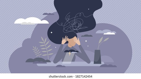 Anxiety mental health condition and bad emotional state tiny person concept. Depression feeling and internal emotion with dark or negative thoughts vector illustration. Psychiatry help necessity scene