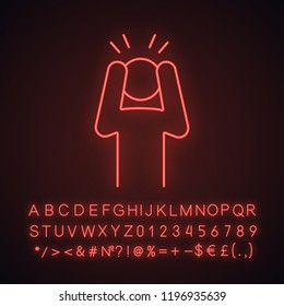 Anxiety neon light icon. Exhaustion, fatigue. Apathy. Worrying person. Panic attack. Depression, desperation. Stress symptom. Glowing sign with alphabet, numbers, symbols. Vector isolated illustration