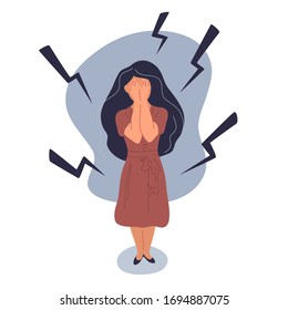 Anxiety or panic attack. Depressed nervous person. Sad young woman with lowered head having panic disorder. Psychology, solitude, fear or mental health problems concept. Depressed nervous person