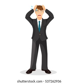 Anxiety person cartoon illustration. Anxious and sad young man clutching head his hands with beads of sweat on his face. Headache pain. Worried, depression sign. Loser. Tired, upset person. Vector