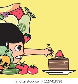 Anxiety Weight watcher Girl Having A Cheating Day. Diet Girl Ignoring Healthy Fruits Vegetables And Trying To Reach Chocolate Layer Cake Instead Concept Card Character illustration