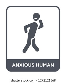 anxious human icon vector on white background, anxious human trendy filled icons from Feelings collection, anxious human simple element illustration