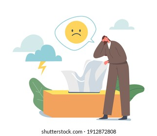 Anxious Woman Suffering of Depression and Anxiety Problem Feeling Frustrated Crying near Huge Box with Wipes. Sad and Desperate Female Character need Psychological Help. Cartoon Vector Illustration