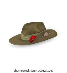 Anzac australian army slouch hat with red poppy isolated. Design elements for Anzac Day or Remembrance Armistice Day in New Zealand, Australia. Vector illustration.