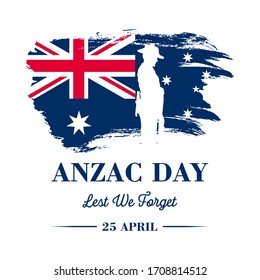 Anzac banner, Silhouette of soldier paying respect on Australian flag, vector