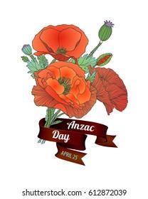 Anzac Day. April 25. Poppy flowers bouquet