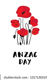 ANZAC DAY. Australia New Zealand Army Corps. Red poppy flowers and lettering text on white