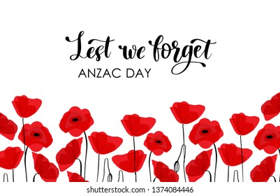 ANZAC DAY. Australia New Zealand Army Corps. Red poppy flowerrs and text on white background