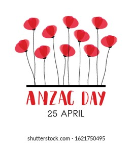 ANZAC DAY. Australia New Zealand Army Corps. Red poppy flowers and lettering text isolated on white background