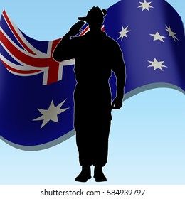 ANZAC day banner or poster featuring a waving Australian flag. The Australian soldier is saluting the correct way for a solider from Australia. Space at the bottom for your text.