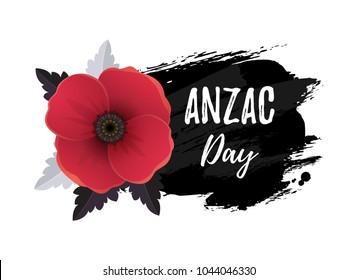 Anzac Day card. Vector illustration of a bright poppy flower. A symbol of International Day of Remembrance. Hand drawn ink background.