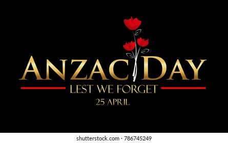 Anzac Day gold logo vector on black background