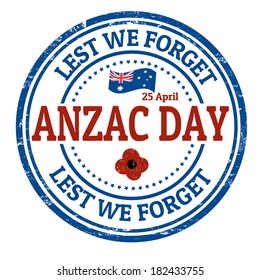 Anzac Day  grunge rubber stamp on white, vector illustration