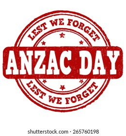 Anzac Day grunge rubber stamp on white background, vector illustration