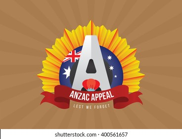 Anzac Day label  with poppies and Australia flag