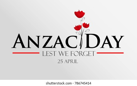 Anzac Day logo with nice red poppy flower on gradient white background