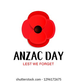 Anzac Day Memorial card. Paper cut Red Poppy flower Remembrance Day symbol of peace. Lest we forget. Vector Illustration EPS 10 file.