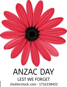 Anzac day on sign on white background illustration