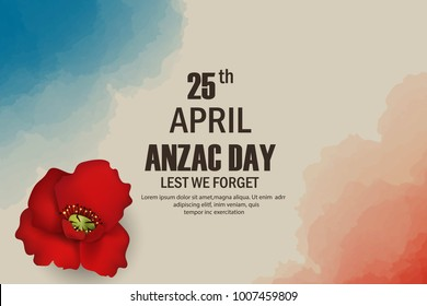 Anzac Day poppies memorial anniversary holiday in Australia, New Zealand war veterans memory. Anzac Day 25 April Australian war remembrance day poster or greeting card design of red poppy flowers.