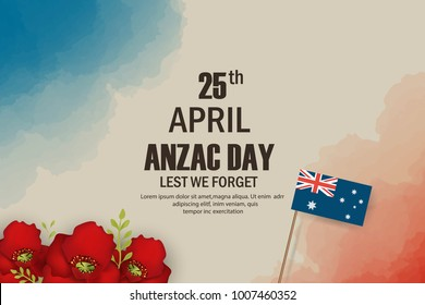 Anzac Day poppies memorial anniversary holiday in Australia, New Zealand war veterans memory. Anzac Day 25 April Australian war remembrance day poster or greeting card design of red poppy flowers