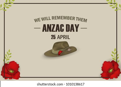 Anzac Day poppies memorial anniversary holiday. We will remember them. Anzac Day 25 April Australian war remembrance day poster or greeting card design of red poppies flowers, Anzac army slouch hat.