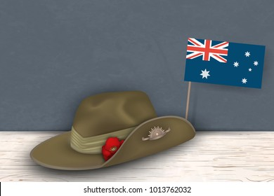 Anzac Day poppies memorial anniversary holiday war veterans memory. Anzac Day 25 April Australian war remembrance day poster or greeting card design of australian flag, Anzac army slouch hat. vector.