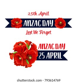 Anzac Day poppy bunch icon for war commemorative day of Australia and New Zealand soldiers and veterans. Vector red flowers symbol for freedom and peace war remembrance on Australian Anzac Day