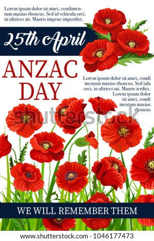Anzac day poppy flowers design poster stock vector royalty free anzac day poppy flowers design poster for lest we forget of australia and new zealand war mightylinksfo