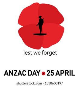 anzac day poppy with world war soldier