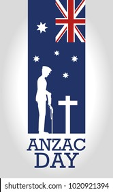 anzac day poster with soldier standing guard