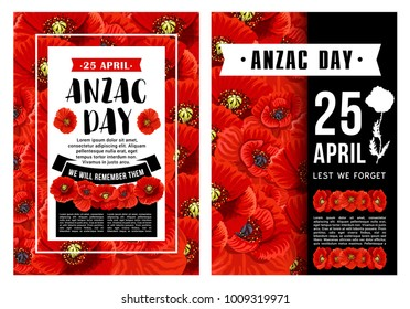 Anzac Day poster with wreath of red poppy flower and black ribbon. Floral banner of National Day of Remembrance in Australia and New Zealand with Lest We Forget message