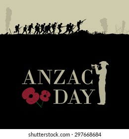 Anzac day, Silhouette illustration of a group of soldiers fighting at war