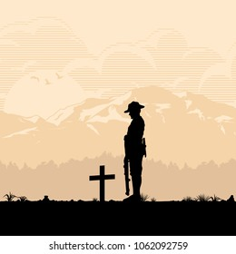 Anzac Day, Silhouette of soldier paying respect at the grave, vector