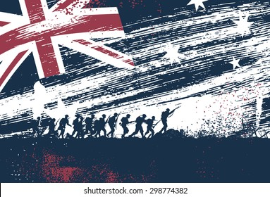 Anzac Day, silhouette of soldiers fighting at war with Australia flag as a background