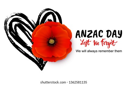 Anzac day vector card with bright red Poppy flower. Lest we forget  hand written lettering.